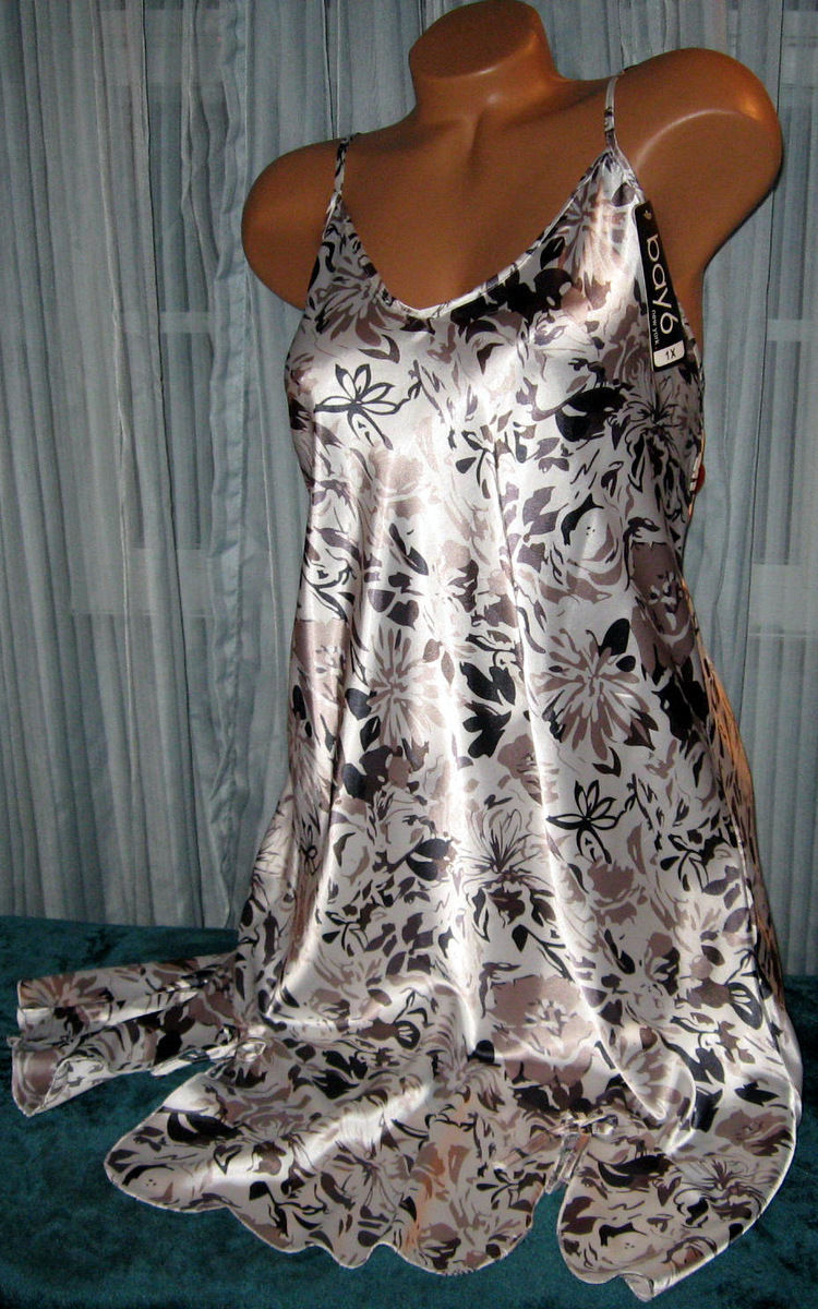 White Taupe Black Floral Chemise 1X 2X 3X Short Gown Plus Size Adjustable Straps