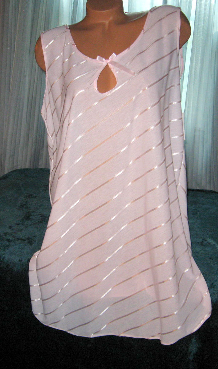 Pink Sleep Shirt Short Gown Keyhole Opening 1X