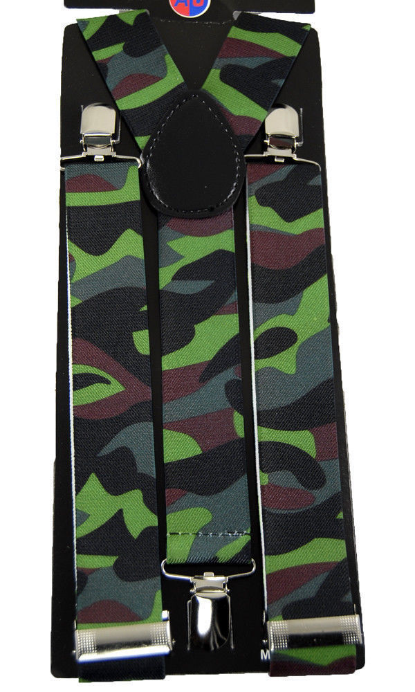 "Mens Unisex Clip-on Braces Elastic Wide ""Camouflage"" Y Back Suspender"