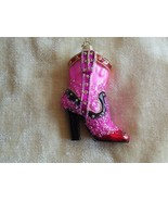 Pink Cowgirl Boot Ornament  Bling Christmas - $11.87