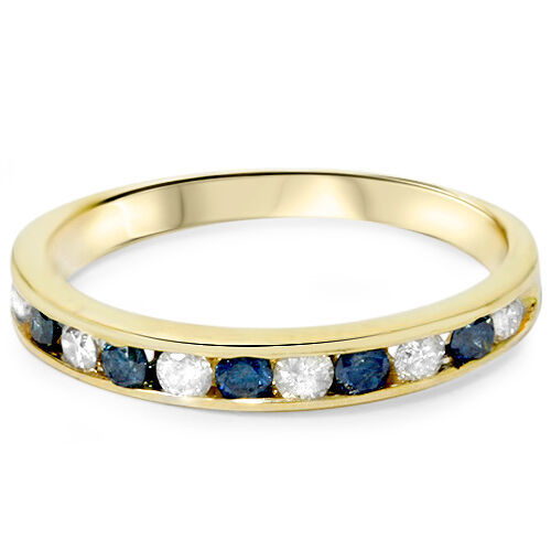 Primary image for 1/2ct White Diamond Enhanced Blue Diamond Channel Set Ring 14K Yellow Gold