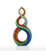 Tooarts Colorful Ribbon Art Glass Sculpture Centerpiece Party Home Decor... - $38.70