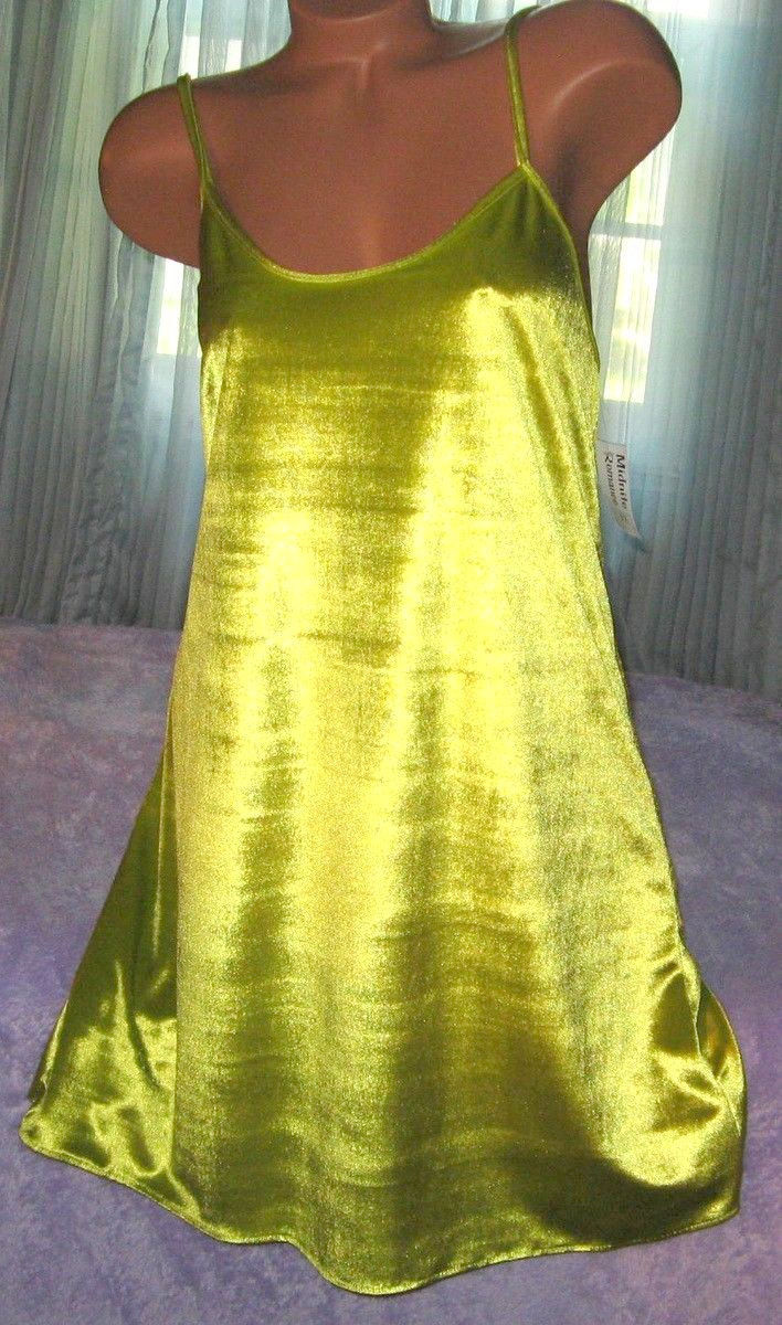 Citron Yellow Green Velvet Nightgown Slip Chemise 1X 2X Short Gown Plus