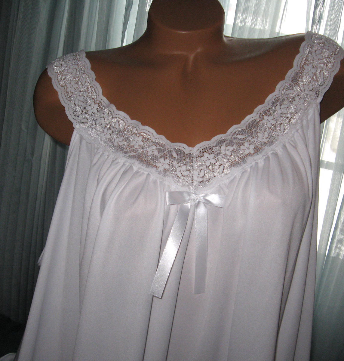 White 2 Piece Babydoll Nightgown & Panty 4X Short Gown Soft Silky