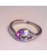 PINK SAPPHIRE THREE-STONE RING IN CURLING WAVE SETTING - SIZE 6  - $5.00