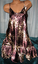 Cream Dk Brown Leopard Chemise Short Gown 1X 2X Plus Size Adjustable str... - $12.50