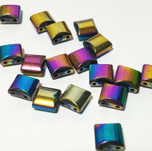 MULTI COLOR RAINBOW SQUARE HEMATITE BEADS 2 HOLE SPACER BEAD 10X10MM 10 PCS image 2