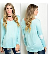 Aqua Stretch Top with White Hearts on the Elbows M - $16.64
