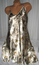Cream Gold Brown Floral Chemise Short Gown 1X 2X 3X Plus Size Adjustable... - $12.50