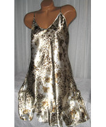 Cream Gold Brown Floral Chemise Short Gown 1X 2X Plus Size Adjustable st... - $12.50