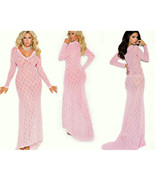 Pink Stretch Lace Long Nightgown 1X Long Sleeves  - $36.99