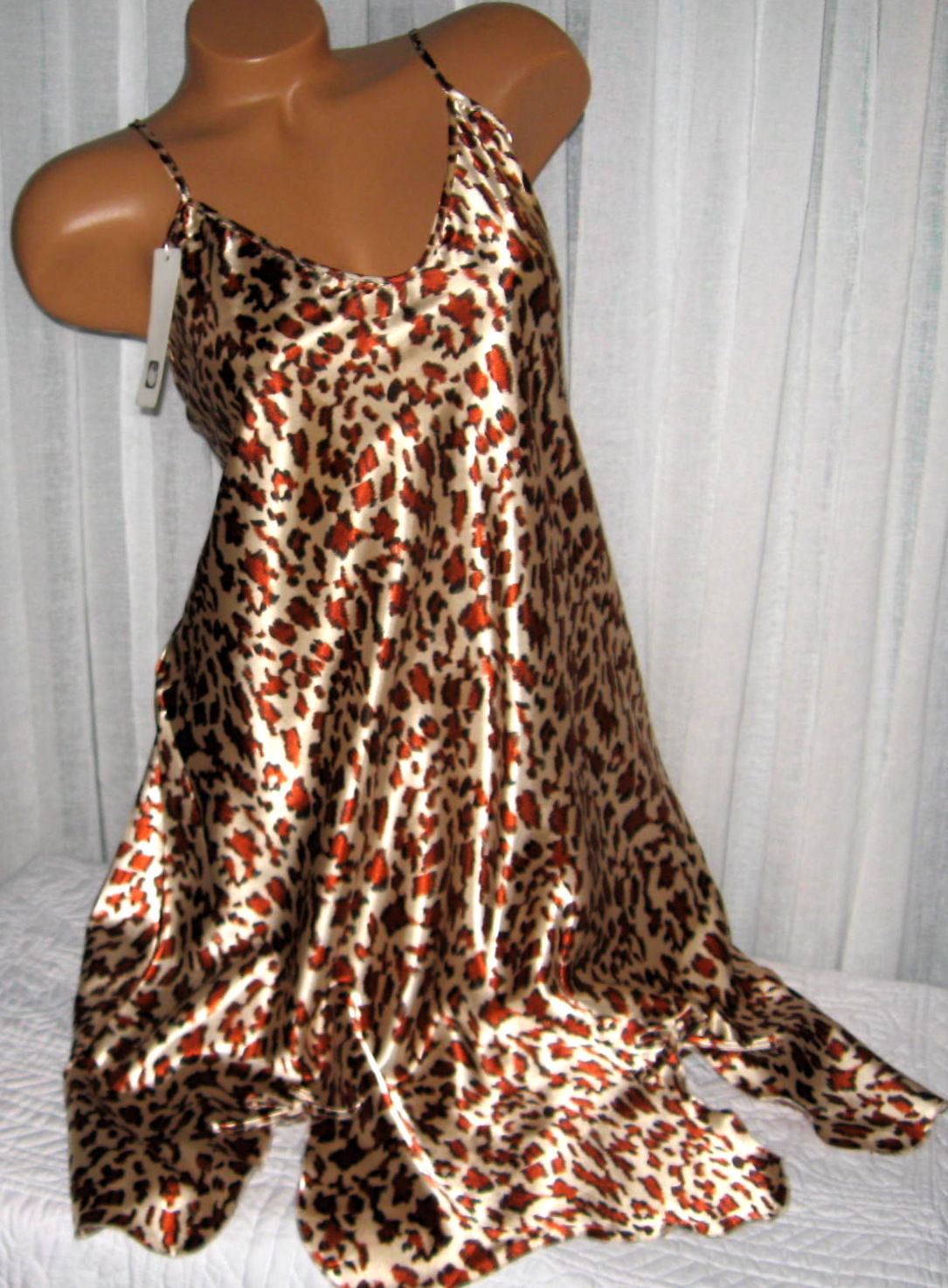 Light Gold Rust Animal Chemise Short Gown 1X 2X Plus Size Adjustable straps