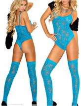 Turquoise Teddy w/ Matching Lace Top Thigh His Stockings O/S Queen 40'-4... - $23.27