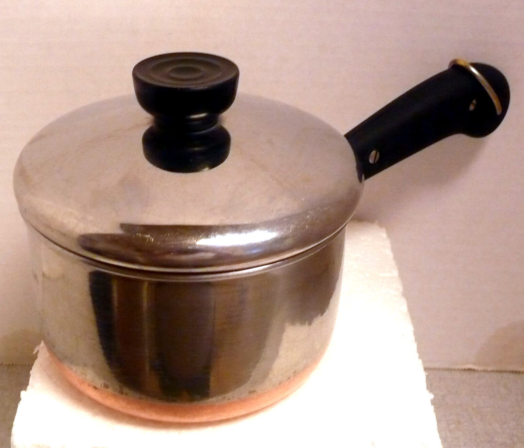 Revere Ware Patent Rome New York Copper Clad 1 Quart Saucepan and Lid