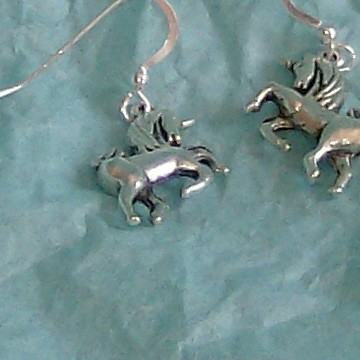 lucky pewter unicorn earings in French hook ear wires