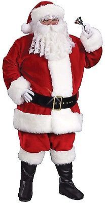 XXL Deluxe Father Christmas Costume + Wig + Beard