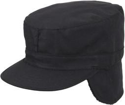 Black Military Fatigue Patrol Cap with Ear Flaps - $9.99