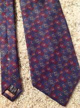 Mens Necktie 100% Silk Geoffrey Beene Blue Red Italy - $15.59