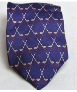 Burberry London Mens Necktie Navy Blue Golf Club 100% silk  - $74.66