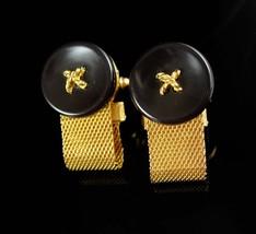 Dante cuff links Button design Cufflinks Vintage Mesh Wrap - $85.00