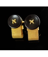 Dante cuff links Button design Cufflinks Vintage Mesh Wrap - $85.00