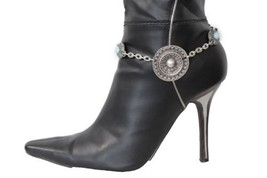 Women Western Boot Bracelet Silver Metal Chain Bling Shoe Disc Turquoise Charm - $17.62