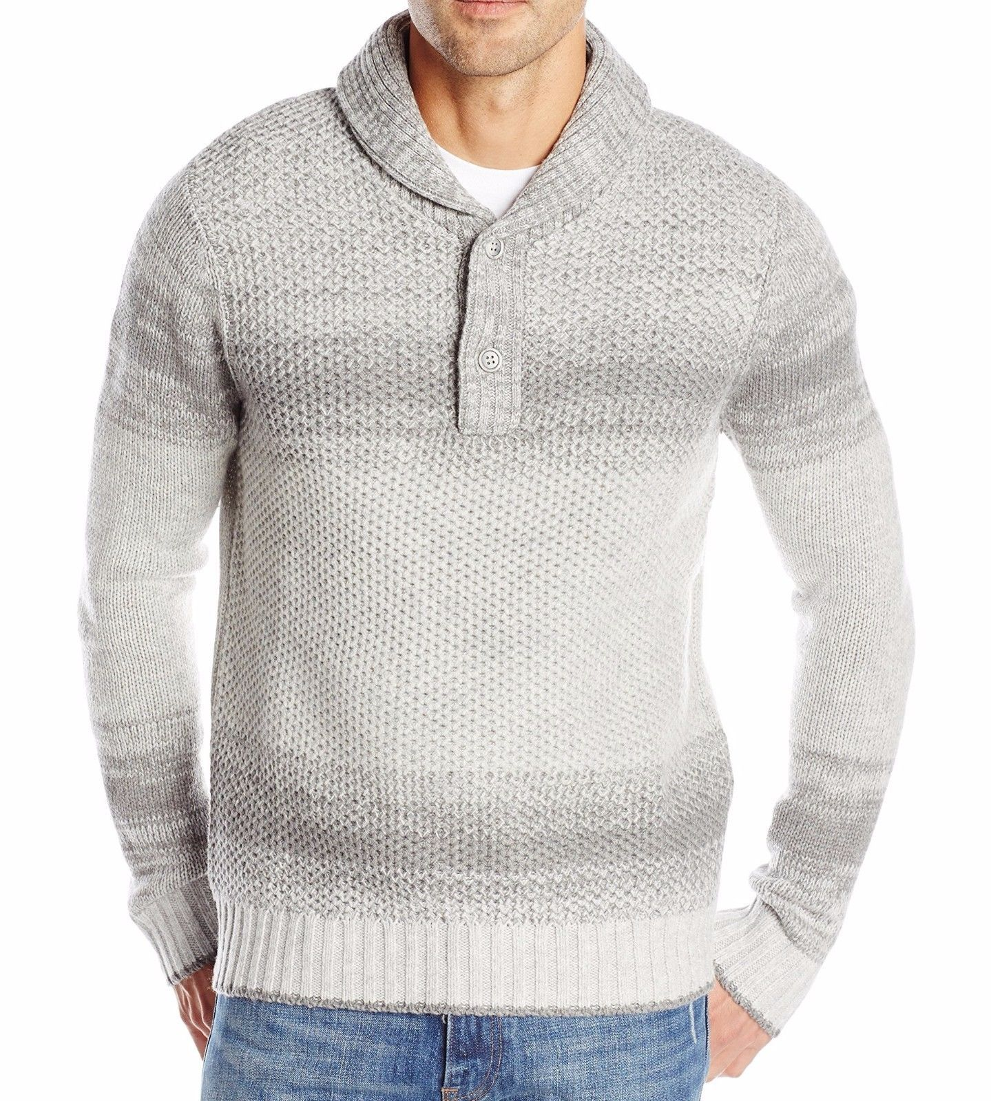 Nautica Men's Lofty Ombre Shawl Collar Sweater Grey Heather X-Large