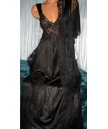 Nylon Robe & Gown Set M Black Lace Chiffon 2 pi... - $34.95
