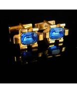 Rhinestone Cuff links Dazzle Blue cufflinks Vintage rhinestone Birthston... - $75.00
