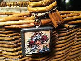 "2 Sided Charm Tag Versatile Glass Metal - ""Drink Martinis and Seduce a Gardener"""