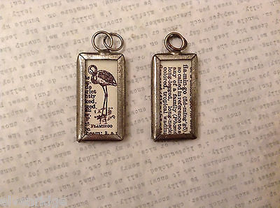 2 Sided Charm Tag Versatile Metal Glass - picture of Flamingo w/ Definition