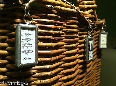 2 Sided Charm Tag Versatile Metal Glass- picture of Nautical Knots w/ Definition