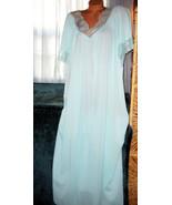 Mint Green Long Nightgown 1X 2X Hi Back Lace Tr... - $23.00