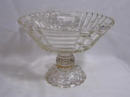 vintage JEANETTE Glass clear LOUISA LOG CUT pattern candy dish footed CO... - $14.99