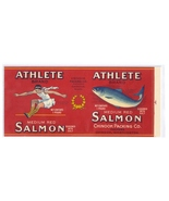 Vintage Can Label Athlete Salmon Chinook WA 1 lb Chromo Lithograph - $4.99