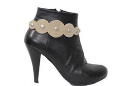 Women Western Boot Bracelet Metal Chains Shoe Silver Charms Beige Suede Leather - $18.60