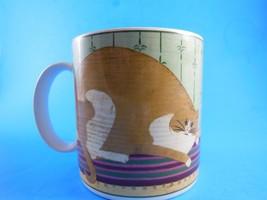 Warren Kimble Cat Collection Mug Ginger and White Cat on Rug Sakura - $5.53