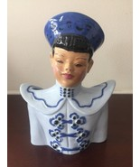 Mid Century Florence Traditional Chinese Ceramic Blue Pottery Figurine - $46.39
