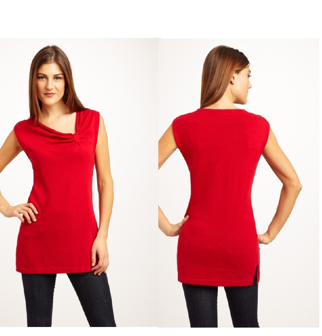 J'ENVIE Sleeveless Knit Tunic with Gathered Neck Detail Small NWT $174