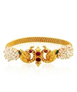 22K 22CT PEARL AND PEACOCK FINE INDIAN GOLD TEMPLE WORK BRACELET BANGLE ... - $2,979.90