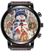 Snowman Dog Cat Winter  Unique Unisex Beautiful Wrist Watch UK FAST - $45.00