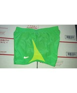 Nike TEMPO Women's Running Shorts Sz M GREEN YELLOW TRIM Design - $20.00