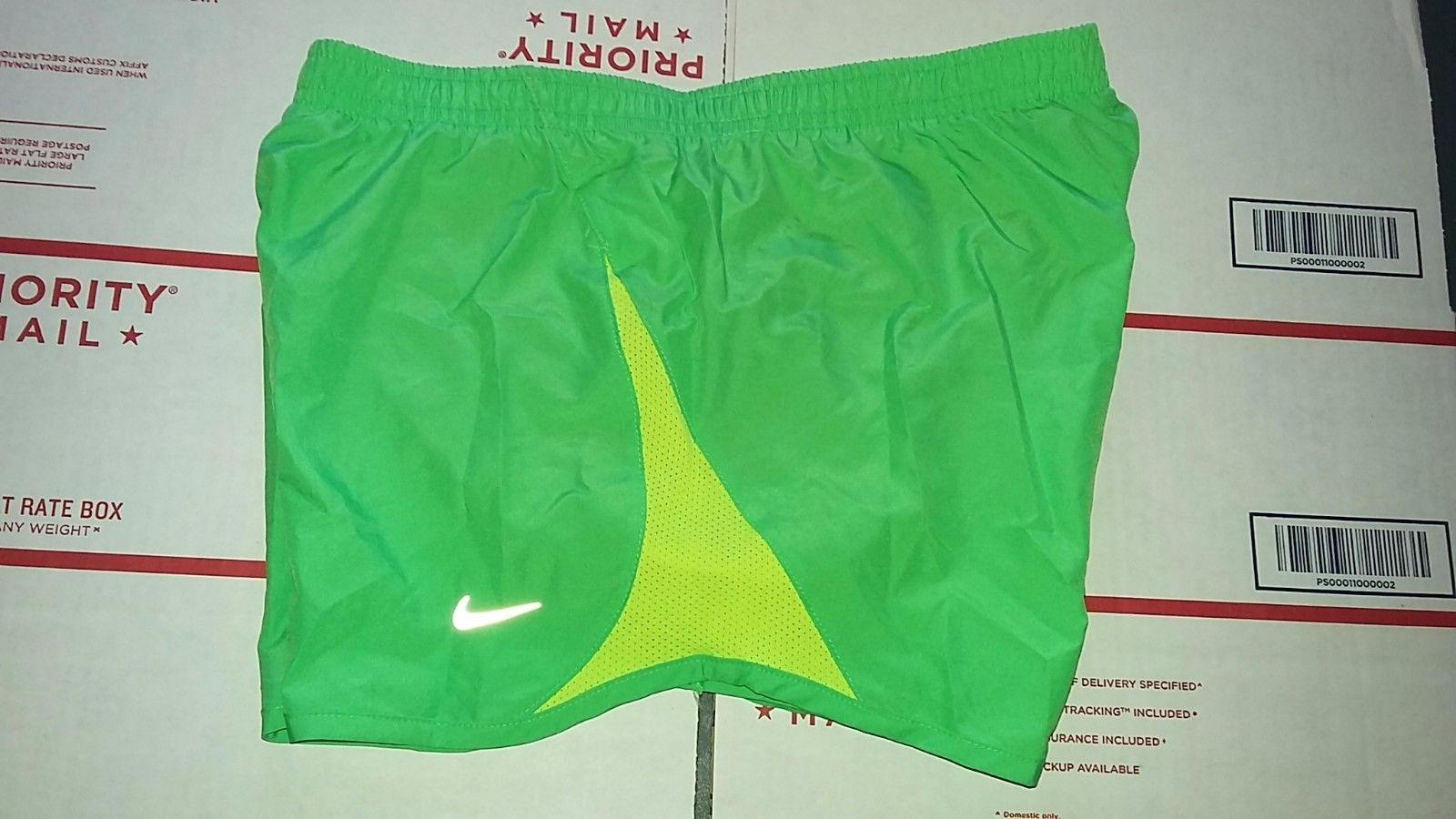 Primary image for Nike TEMPO Women's Running Shorts Sz S GREEN YELLOW TRIM Design