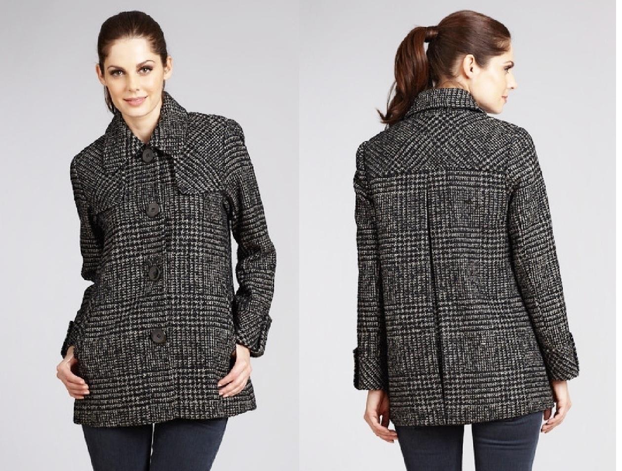 ELLEN TRACY Tweed Button Down Coat Size 2 NWT $380