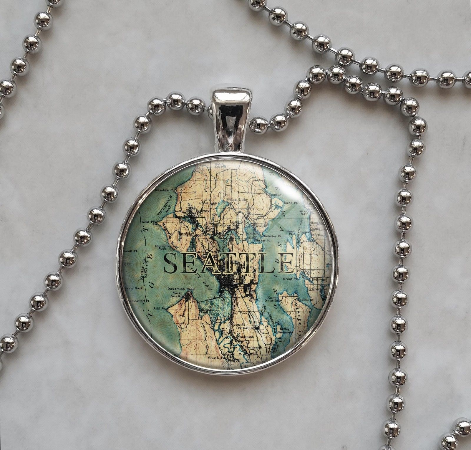 Choose a City Vintage Map Locations Pendant Necklace