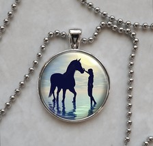 Woman With Horse Walking in Water Pendant Necklace - $14.00+