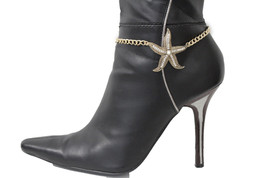 Women Boot Bracelet Accessory Gold Metal Chain Bling Heel Shoes Star Fish Charm - $18.60