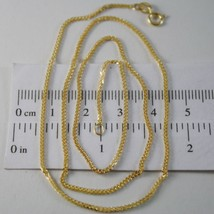 SOLID 18K YELLOW GOLD CHAIN NECKLACE WITH 1MM EAR LINK 23.62 INCH, MADE IN ITALY image 1