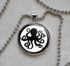 Octopus Silhouette Spy Secret Agent Pendant Necklace - £10.64 GBP+