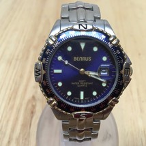Vintage Benrus Mens Blue Face Steel Analog Quar... - $26.03